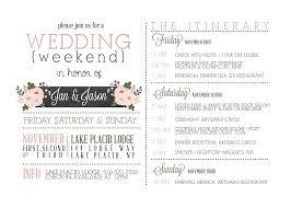 itinerary wedding invitation