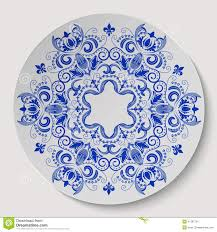 blue floral ornament pattern applied to the ceramic plate