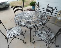 Mosaic Patio Table Top by Wrought Iron Table Etsy