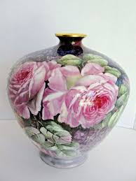 Antique Hand Painted Vases Rare Limoges Antique Hand Painted Vase With Roses D U0026 Co Delinieres