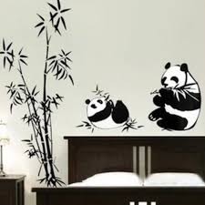 living room wall stickers panda bamboo ink washing pint chinese style living room wall