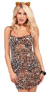 sleeveless animal print mini dress w accessories halloween