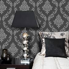 Small Teenage Bedroom Decorated With Paisley Wallpaper And by Torino Black And Grey Damask Wallpaper 22 Cotton Fields Images