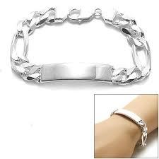 engravable id bracelet sterling silver 11mm engravable figaro chain id bracelet wholesale