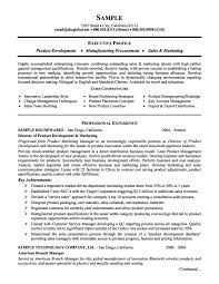 Resumes Sample by Product Management And Marketing Executive Resume Example Job