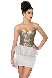 rochii de club rochie de club scurta alb cu auriu cu paiete si peplum