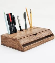 Desk Organizer Vintage Wooden Handmade Desk Organizer Pen Holder Cellphone Stand
