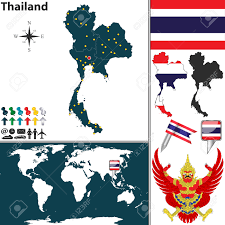 World Map Regions by Map Of Thailand With Regions Coat Of Arms And Location On World