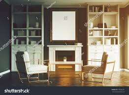 living room interior fireplace two armchairs stock illustration