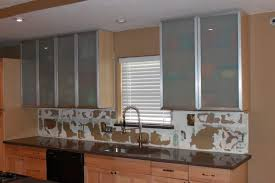 Glass Inserts For Kitchen Cabinets by Recycled Countertops Kitchen Cabinet Glass Inserts Lighting