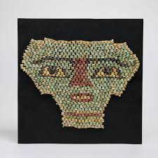bead mask ancient funerary glazed bead mask