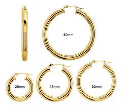 gold hoop earings hoop earrings 4mm 4 sizes 4129