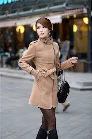 autumn and winter women long trench stylish slim belt wool blend