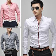 new mens casual slim fit stylish dress shirts 3colours gray white