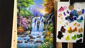 Paint Colorful - colorful waterfall arylics painting lesson 4 youtube