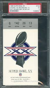 super bowl xx bears vs patriots ticket stub psa 5