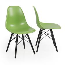2x eames chair green natural wood legs eiffel dsw for dining room