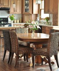 furniture charming glossy round table and brown seagrass dining
