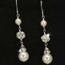 rhinestone earrings pearl and rhinestone dangle earrings bridal wedding jewelry