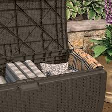Suncast 50 Gallon Patio Bench by Amazon Com Suncast Dbw9200 Mocha Resin Wicker Deck Box 99 Gallon