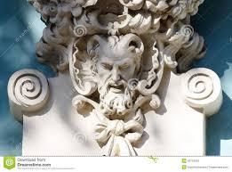 gehoornd hoofd van sater oude huisdecoratie griekse mythologie