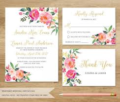 watercolor floral wedding invitation printable wedding invitation