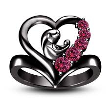 black gold mothers ring black gold filled 1 50 ct pink child heart ring 2017
