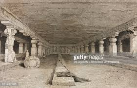 cave temples in ellora india drawn by prout from original sketches