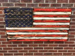 wooden american flag wall rustic engraved wooded american flag