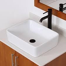 elite bathroom rectangle white ceramic porcelain vessel sink u0026 oil