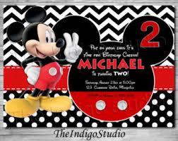 mickey mouse birthday invitations mickey mouse 2nd birthday invitation etsy