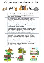 describe the cats and their houses esl worksheets of the day