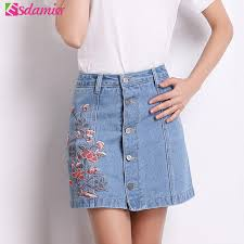 summer skirts aliexpress buy 2017 summer fashion floral embroidery denim