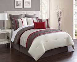 Red And White Comforter Sets 8 Piece Aruba Red Taupe Comforter Set
