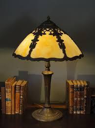 signed miller morning glory trellis slag glass lamp from