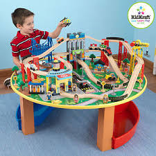 wooden train set table kidkraft wooden train set table airplane toys toy helicopter boys