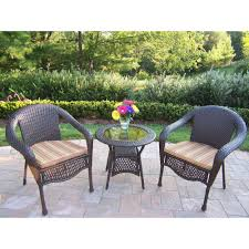 Patio Furniture Wicker Resin - oakland living elite resin 3 piece wicker patio bistro set with
