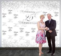 wedding anniversary photo backdrop printed personalized 25th
