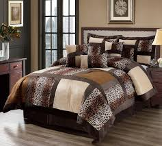 Leopard Bed Set 7 Leopard Patchwork Faux Fur Microfiber Comforter Set