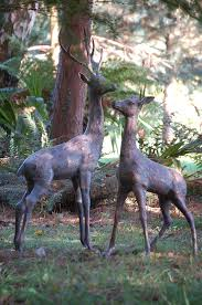 garden ornaments large deer antique bronze sculptures