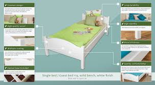 single bed guest bed 113 solid beech wood white finish 100 x
