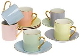 Coffee Set classic espresso coffee cups saucers set of 6 by