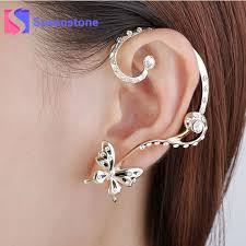 two earrings 2017 new fashion women s personalized stud earrings two different