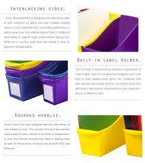 halloween storage bins storex interlocking book bins 12 6 x 5 3 x 14 3 5 color set