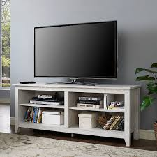 White Wash Wood 58 Inch White Wash Wood Tv Stand By Walker Edison