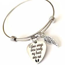 memorial jewelry your wings were ready my heart was not bangle memorial jewelry