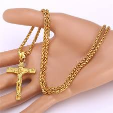 crucifix pendant necklace images Gold plated crucifix jesus pendant necklace jewels of the gods jpg