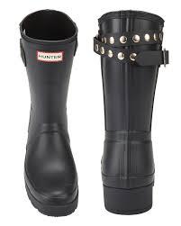 motorcycle rain boots hunter original studded strap short wedge rain boots intermix
