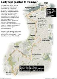 Boston University Map by Former Mayor Thomas M Menino Planned His Funeral The Boston Globe