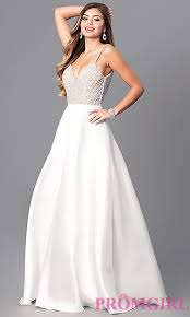 white dresses beaded bodice white prom dress promgirl